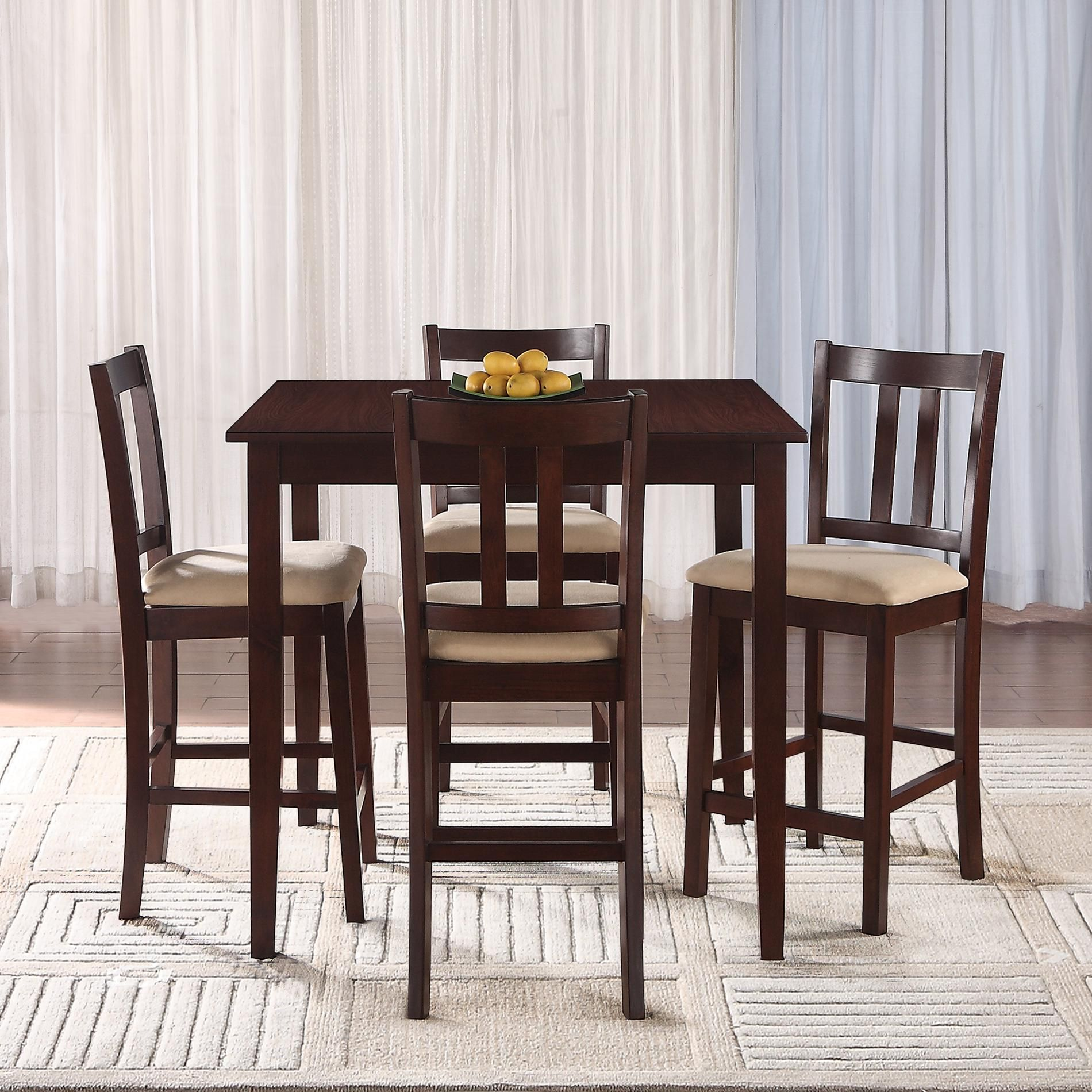 Essential Home Hayden 5 Piece Upholstered Dining Set With Rich Espresso Finish