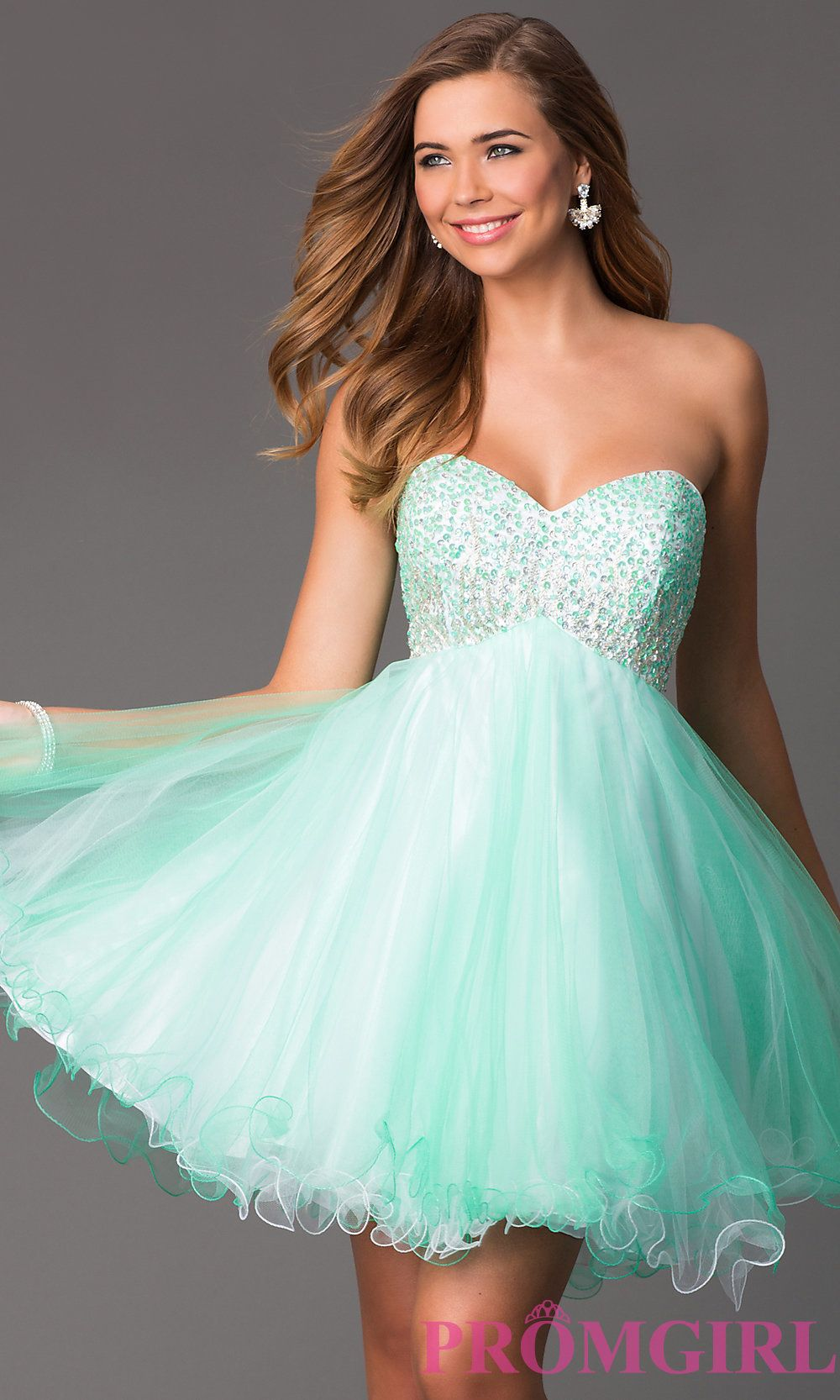 Image of Short Strapless Empire Waist Party Dress Style: HOW-DA ...