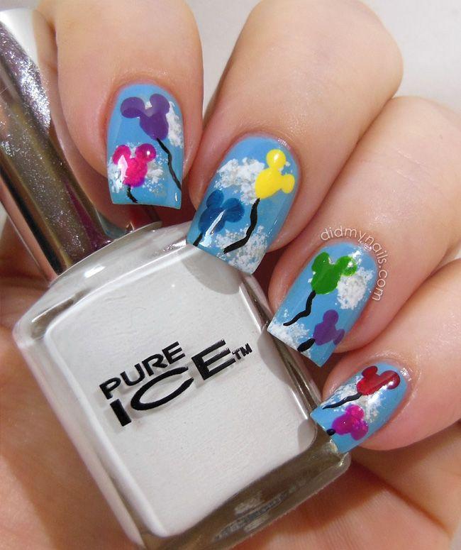 Mickey Mouse balloon nail art | nails | Pinterest | Arte de uñas ...