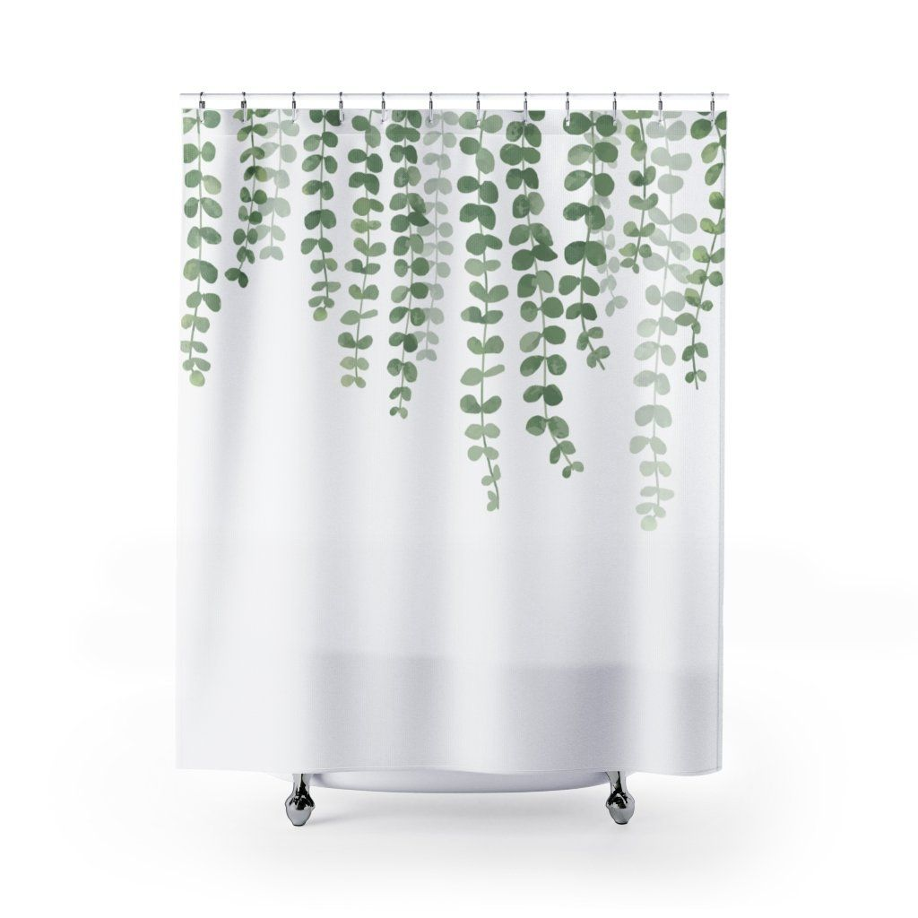 Photo of Eucalyptus Cascading Branches Watercolor Botanical Print Shower Curtain – 71 × 74