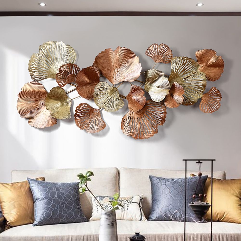"Luxury Gold Ginkgo Leaves Metal Wall Decor Home Art 53.9""L x 24.4""H in 2021  | Metal wall art decor, Wall decor, Hanging wall decor"