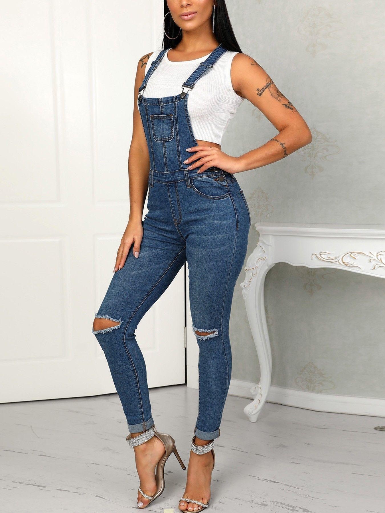 e243cc6d266a Denim Cut Out Knee Pocket Suspenders Jumpsuit