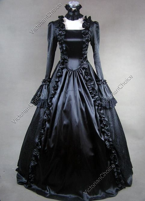 Victorian Gothic Penny Dreadful Black Witch Satin Dress Ball Gown S ...