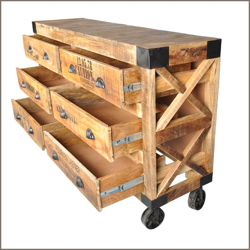 Industrial Rustic Hardwood 6 Drawer Bedroom Jewelry Vanity Dresser Cart On Wheel Holzbearbeitung Holz Und Holzschubladen