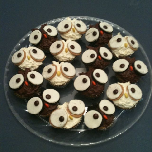 Owl Cupcakes For My Husband's Birthday Lunch At Work. They