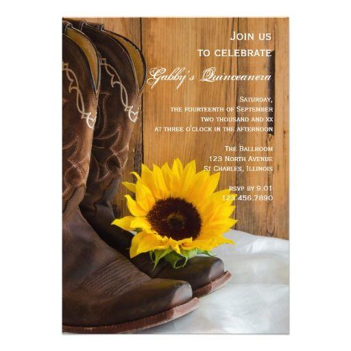 15 Años Con Tema De Girasoles: Country Sunflower Quinceanera Party Invitation