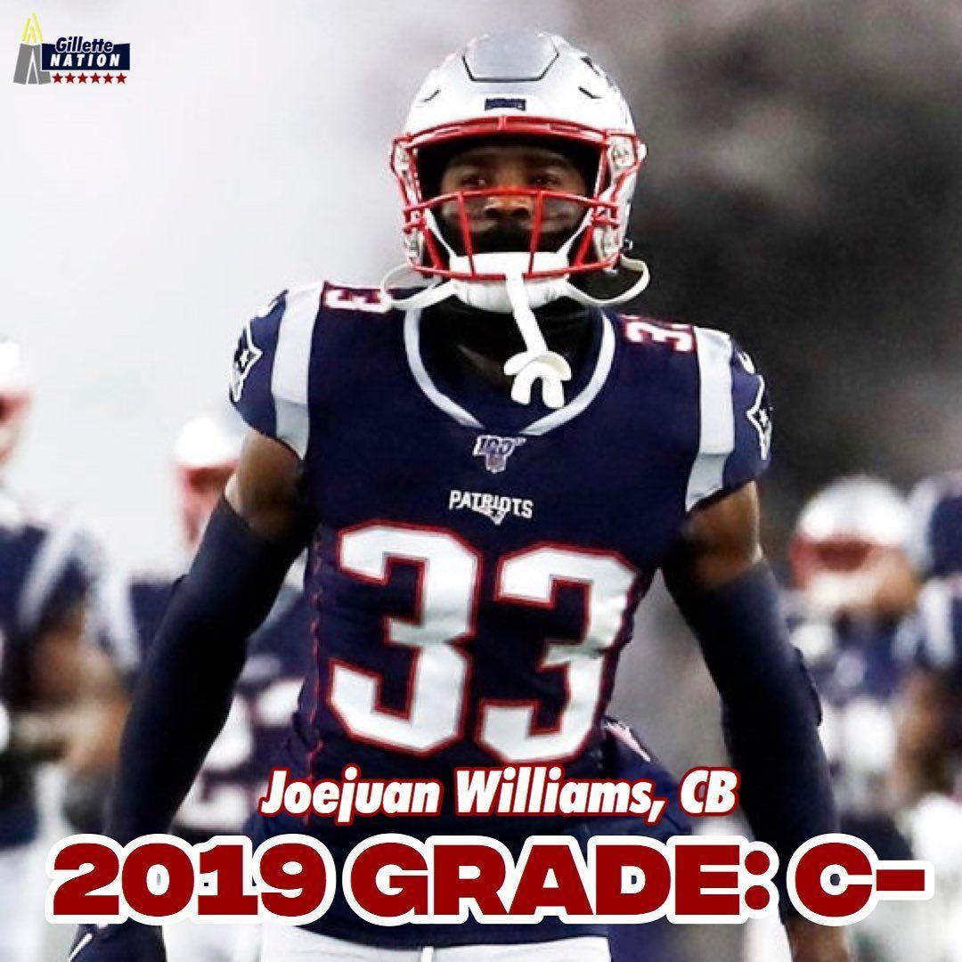 2019 Player Grades Joejuan Williams Cb 33 9 G 5 Tkl Pd 2019 Grad In 2020 Football Helmets Nfl Teams Patriots