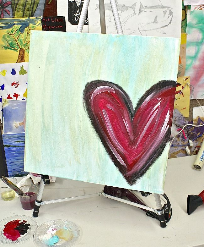 DIY Abstract Heart Painting and a Fun