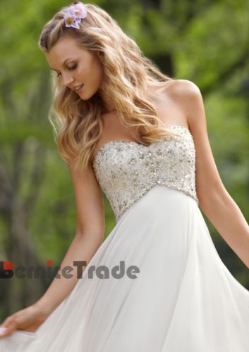 White/Ivory Chiffon Wedding Dress Party Evening Prom Gown Stock Size 6 8 10 12