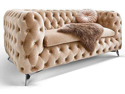 d20bd3ddff43ff Chesterfield Sofa Couch Stoff Samt 3 Sitzer 2 Sitzer Sessel 1 Sitzer  Designer Möbel Emma (2-Sitzer, Creme-Beige)
