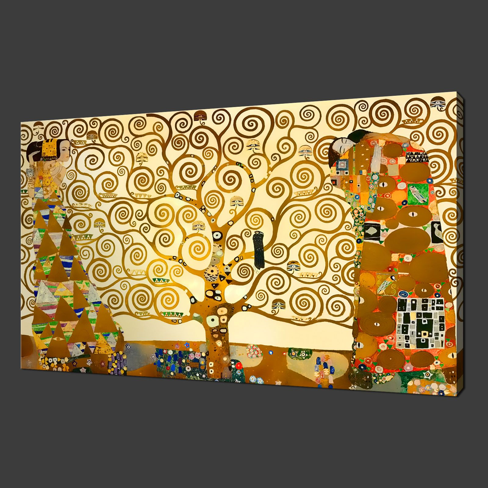 White Blossom On Red Winding Blossom Tree Painting Canvas Wall Art ...