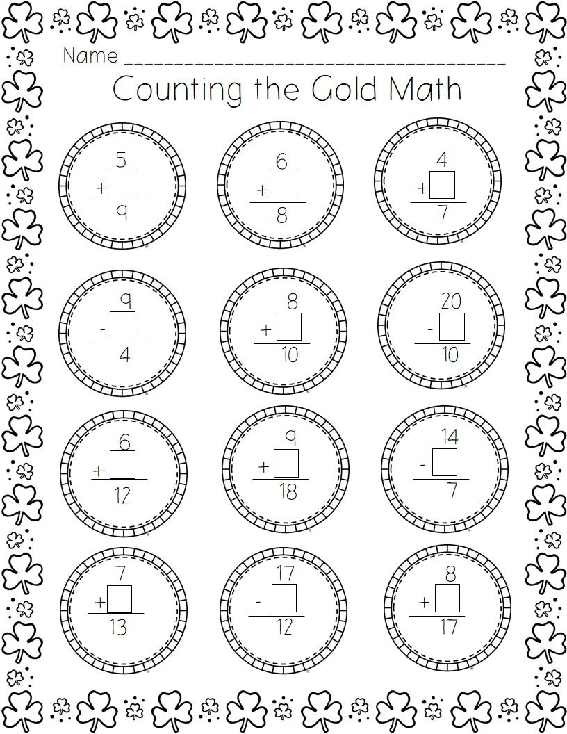 St Patrick S Day Printable Pack Kindergarten Math Worksheets Kindergarten Math Worksheets Free Math Worksheets