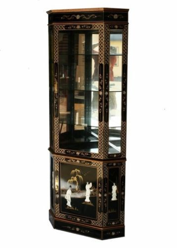 Chinese Corner Cabinet Glass Display Cabinet Black Mother Of Pearl Glass Cabinets Display Display Cabinet Corner Cabinet