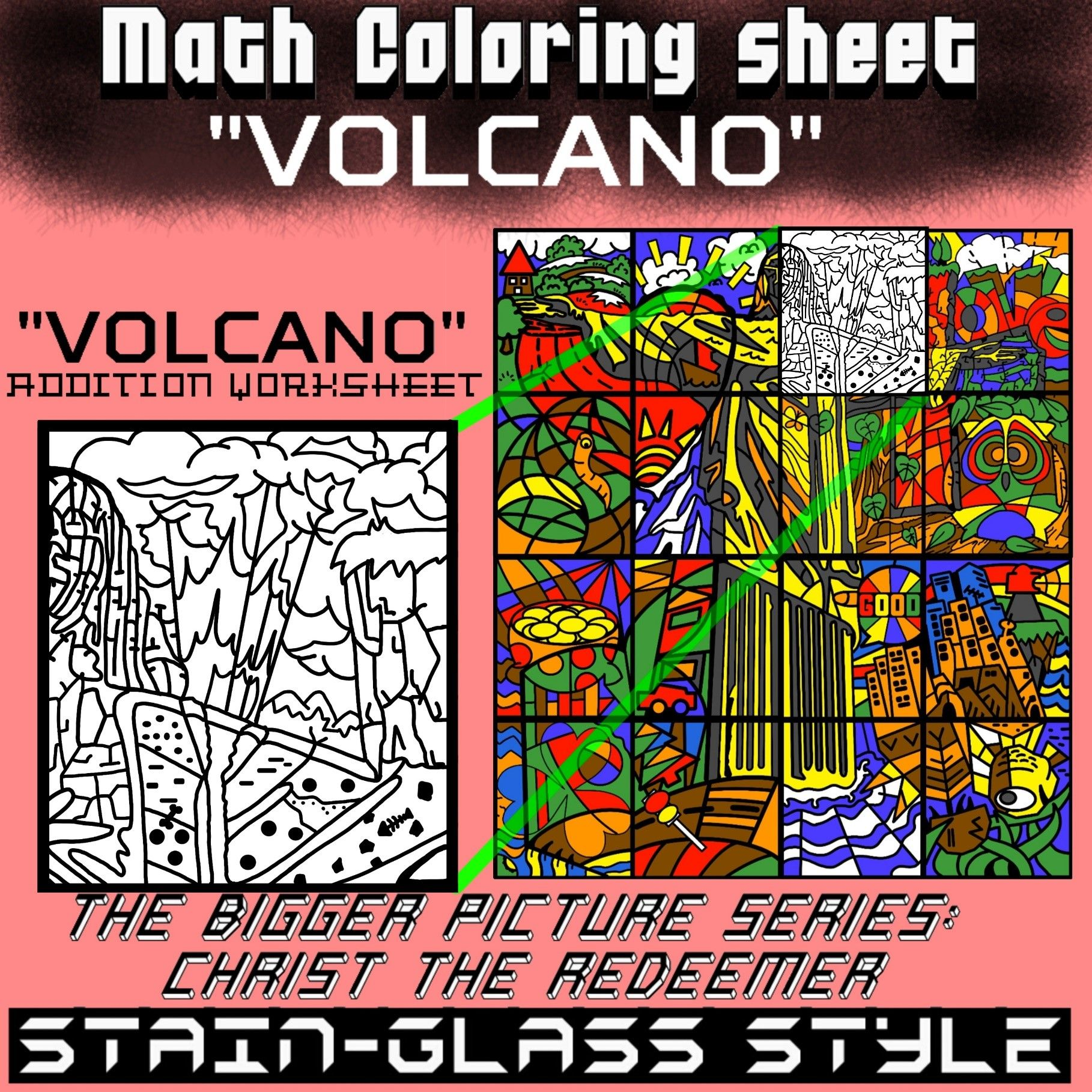 Math Colouring Worksheet Addition Volcano