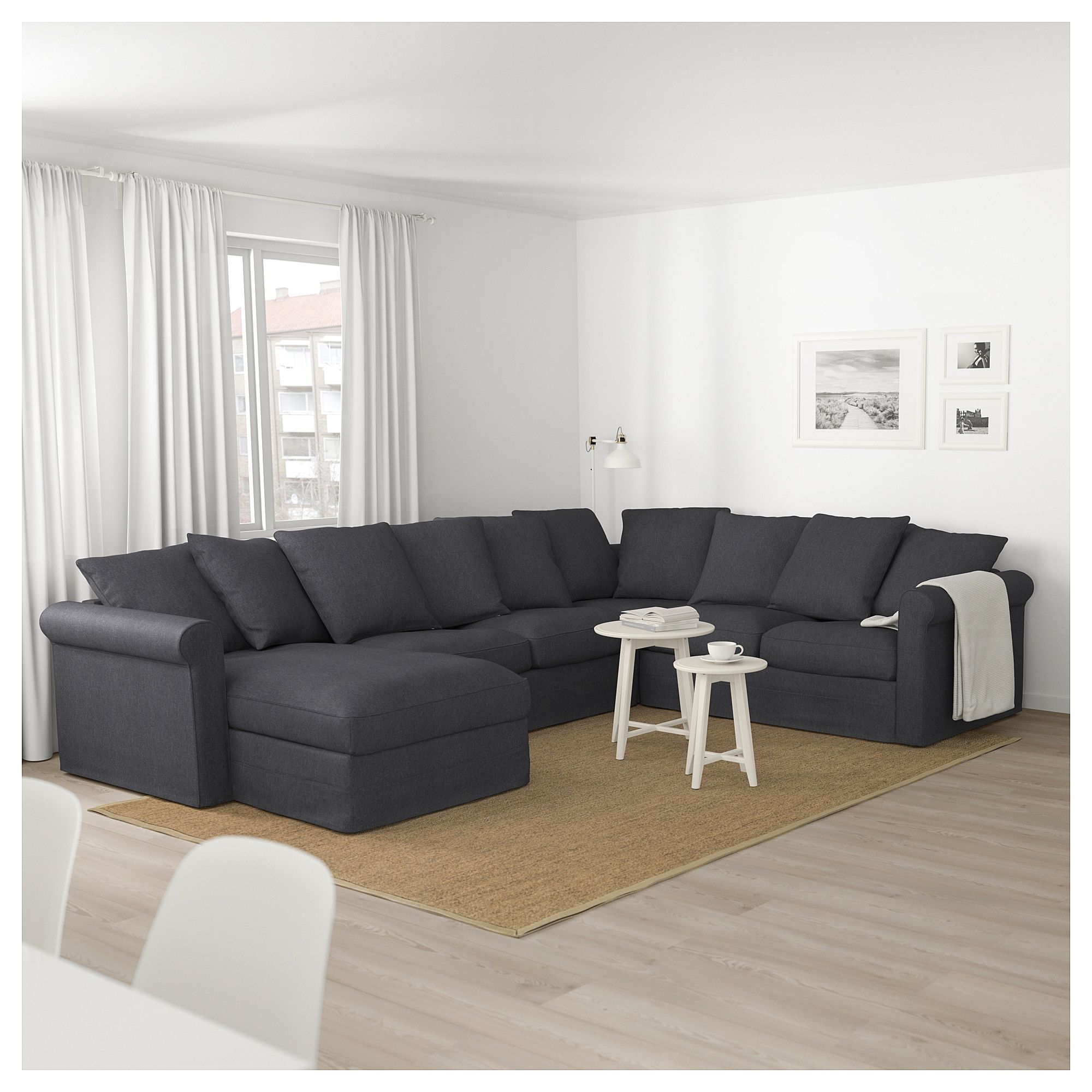 Ikea Gronlid Sectional 5 Seat Corner With Chaise Sporda Dark Gray Corner Sofa Living Room Ikea Corner Sofa Ikea Living Room