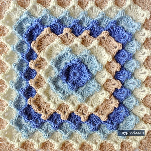 Crochet Square Motif - Free Crochet Pattern - (mypicot) | ganchillo ...