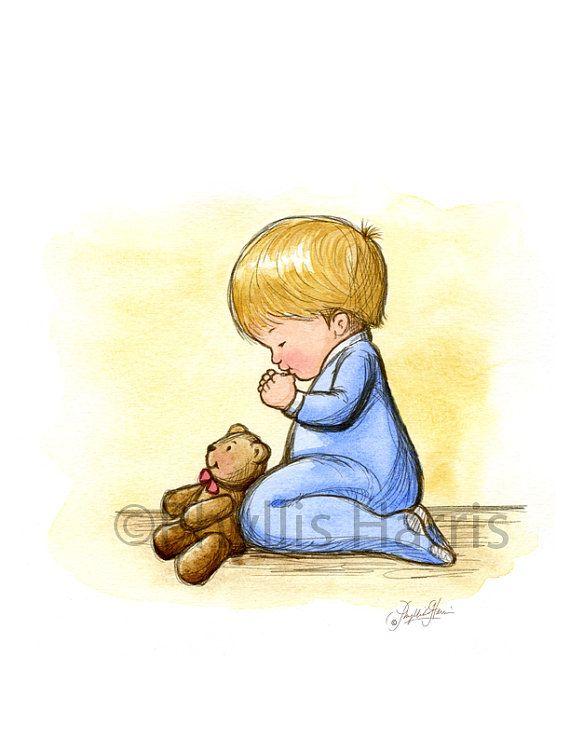 Praying Little Boy Toddler - The faith of a child - Blue Nursery ...