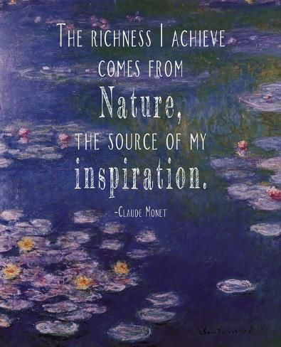 Art Print: Quote Master's Monet Quote Waterlilies at Giverny, 12x10in.