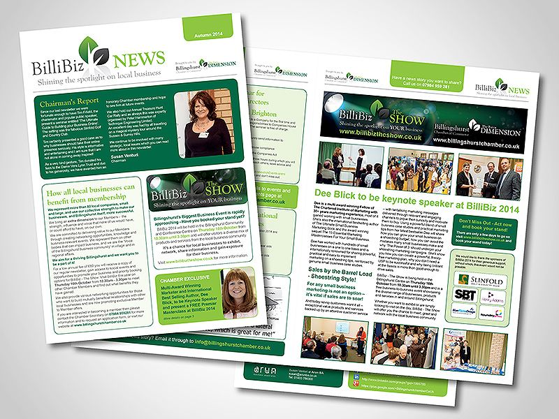 Billingshurst Chamber of Commerce Newsletter Design | Newsletter ...