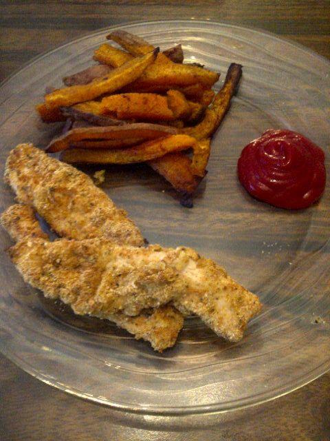 homemade cajun turkey strips and sweet potato fries