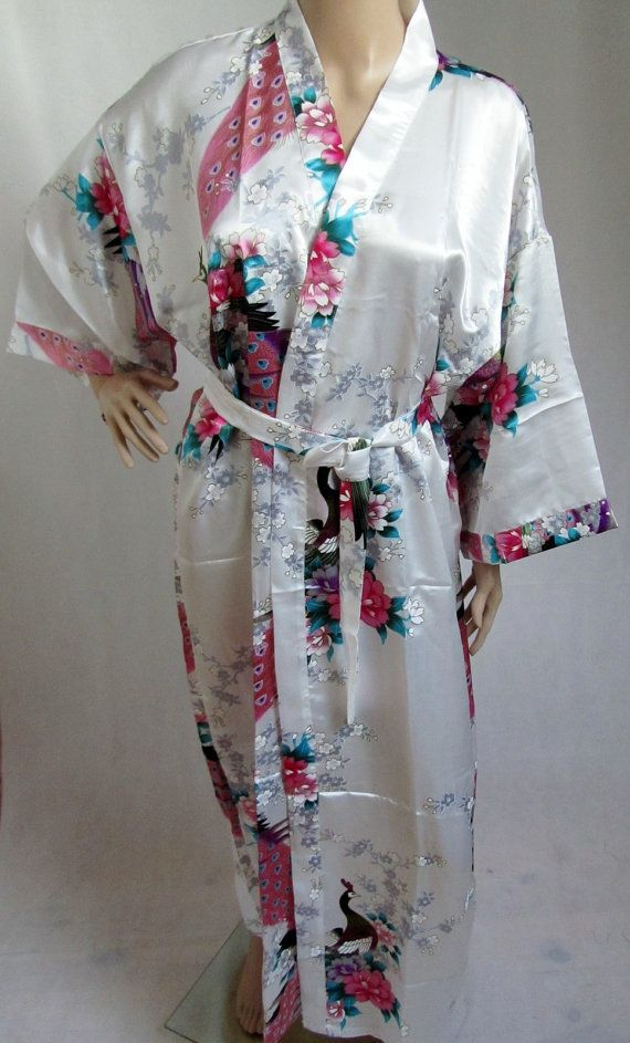 White Silk LONG Bathrobe, House coat, kimono, dressing gown ...