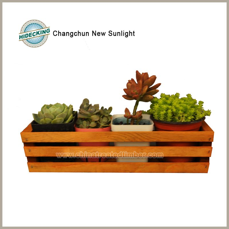 Wooden Flower Pot Flower Box Plant Planter Outdoor Birch Yellow Frame Treated Timber 3 Grids And 4cups Wooden Flowers Treated Timber Flower Boxes