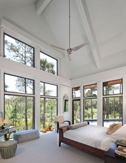 Upstairs The Bedroom S Large Glass Windows And High Ceiling