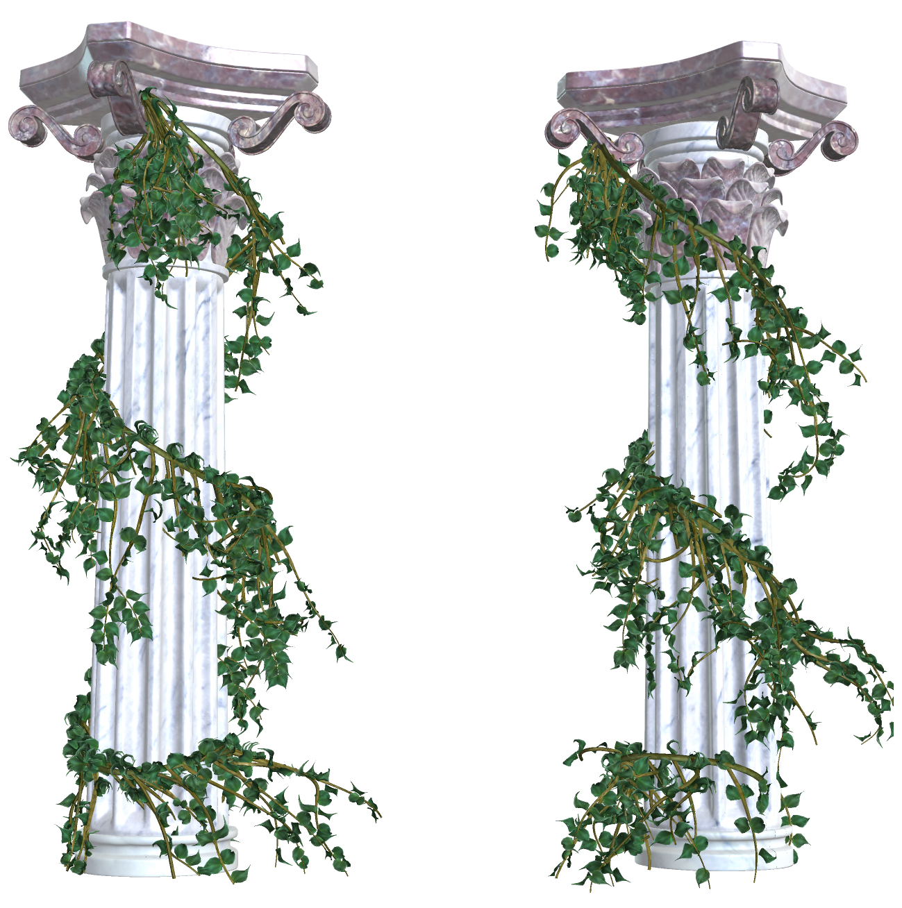 Beautiful Columns with Vines PNG Decorative Elements (With