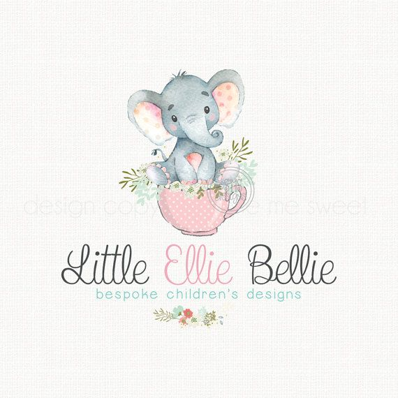 5f75fccd2e51f elephant logo design watercolor logo baby by stylemesweetdesign ...