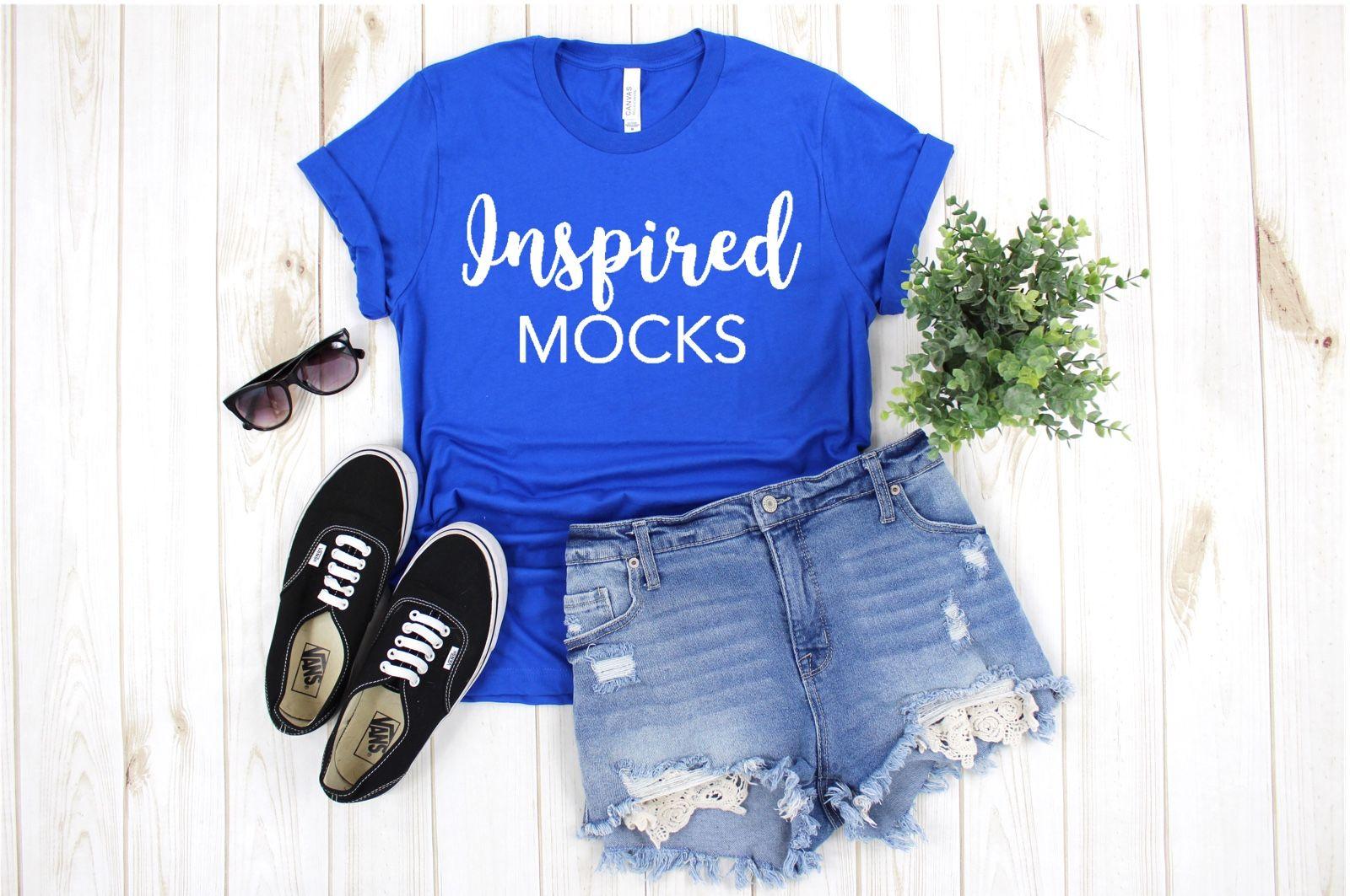 Summer Mockup Bella Canvas 3001 Royal Blue Tshirt Mockup Shirt