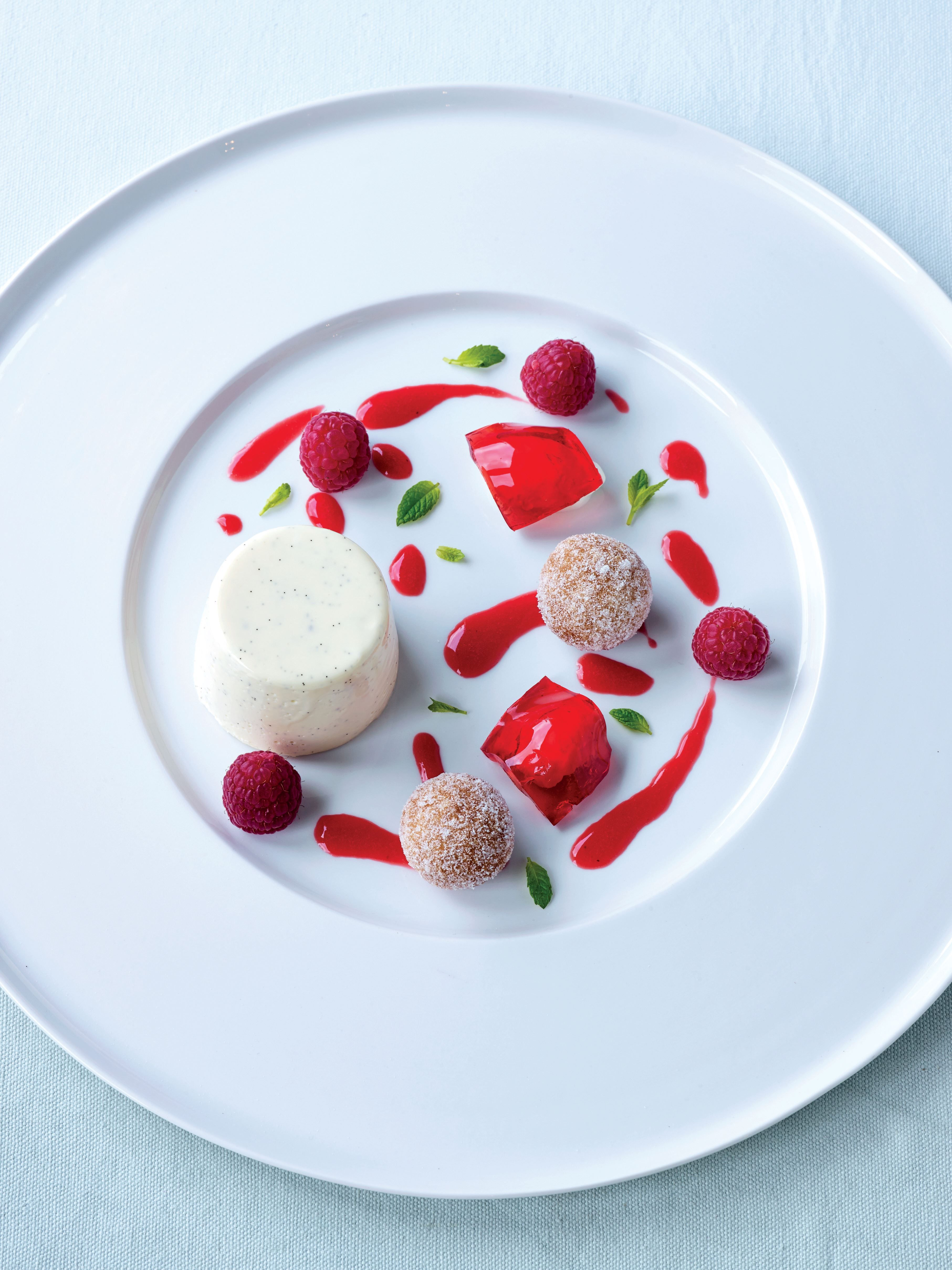 Buttermilk Panna Cotta With Doughnuts And Raspberry Jelly Recipe From Sweet By James Martin Cooked Recipe Raspberry Jelly Recipe Jelly Recipes Delicious Deserts