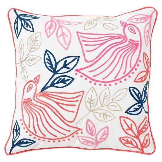 Boho Bird Pillow Cover 16x16 Warm Bird Pillow