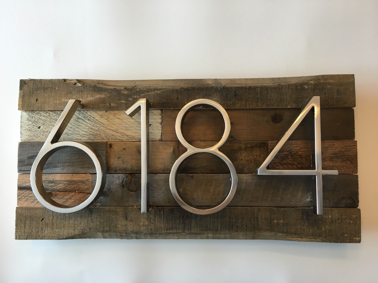 Rustic Address Plaque made from Reclaimed Wood metal