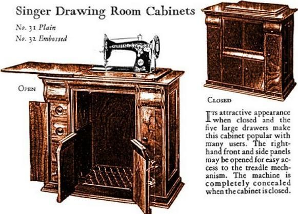 Singer Sewing Machine Drawing Room Cabinets No 31 And 32 Sewing Machine Drawing Singer Sewing Machine Singer Sewing Tables