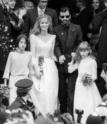 Barbara Bach And Ringo Star On Their Wedding Day Celebrity Wedding Photos Celebrity Bride Hollywood Wedding