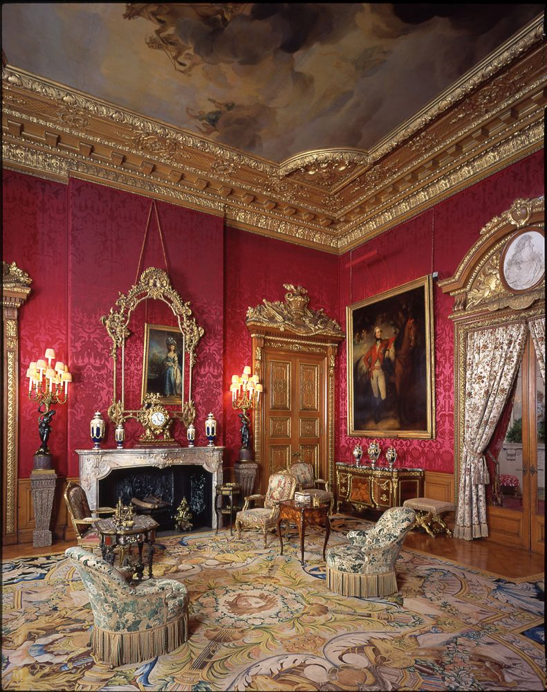 Inside House Drawing: Red Drawing Room At Waddesdon Manor
