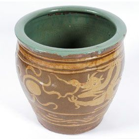 A Large Clay Pot With Dragon Sculpted And Glazed Design Used To Transport 100 Year Old Eggs Brown Exterior Glaze And Clay Planters Egg Crates Chinese Egg