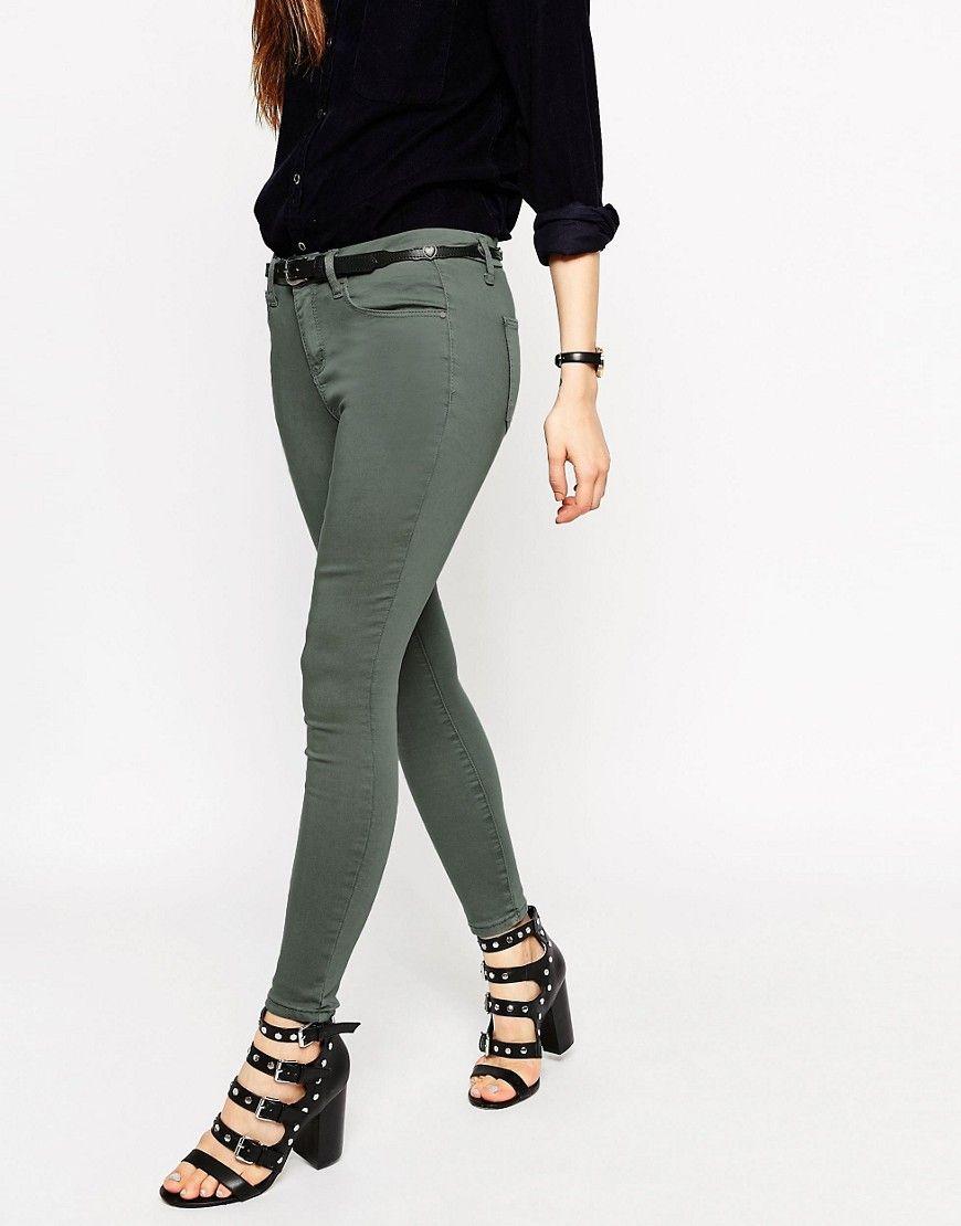 Asos Womens Sculpt Me' Ankle Grazer Premium Jeans Ash Green - Jeans