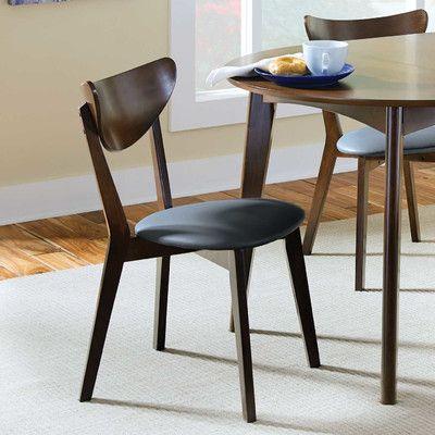 Septimus Side Chair In Dark Walnut Black Modern Dining Chairs