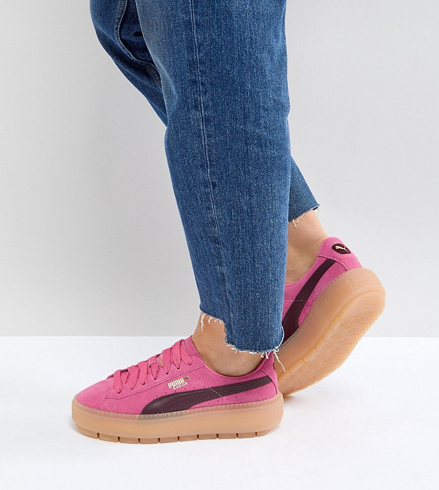 PUMA TRACE PLATFORM SNEAKERS IN PINK AND BLACK - PINK.  puma  shoes ... 4aba4f474