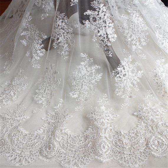 Ivory Embroidery Bridal Dress Lace Fabric Corded Wedding Gown DIY Tulle 0.5 Y