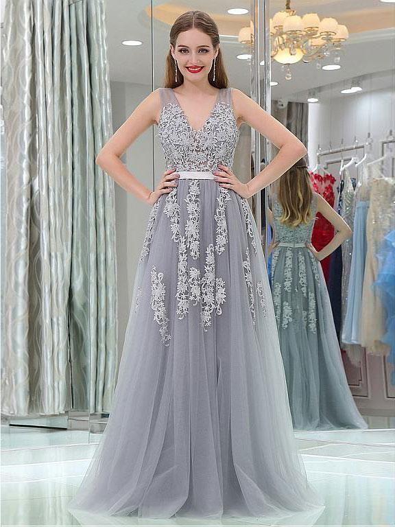 bcac5a1a94 Silhouette:A-line 2.Fabric:Tulle 3.Embellishment:Appliqued 4.Neckline:V-neck  5.Sleeve:Sleeveless 6.Waistline:Natural 7.Hem-length:Floor-Length 8.