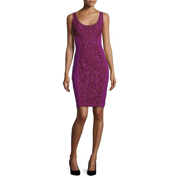 Diane Von Furstenberg Geovana Lace Sleeveless Sheath Dress ($398) ❤ liked on Polyvore featuring dresses, women's apparel dresses, diane von furstenberg, sleeveless lace dress, diane von furstenberg dress, purple dress and sleeveless dress