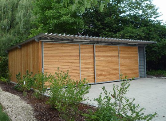 Carport Als Stahlkonstruktion Mit Holzverkleidung Und Trapezblechen Carports Carport Trapezblech Dach