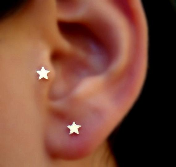 Nose Ring Piercing Tragus Cartilage Earring Nose Stud 14K Solid Rose Gold Cross