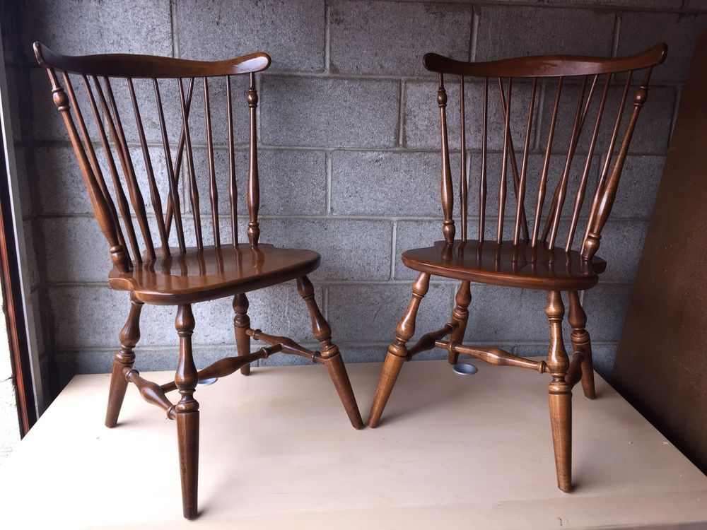 Pair Of Vintage Ethan Allen Windsor Side Dining Chair Nice Due To The Size Box It Will Be Shipped Via Greyhound Er Responsible For