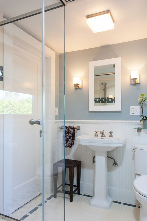 Bathroom Wall Color Is Santorini Blue By Benjamin Moore. Image Via AND  Kitchen And Bath Design Studio