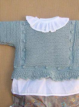 Tutorial jersey beb de punto a dos agujas ropa tejer bebe - Tejer chaqueta bebe 6 meses ...