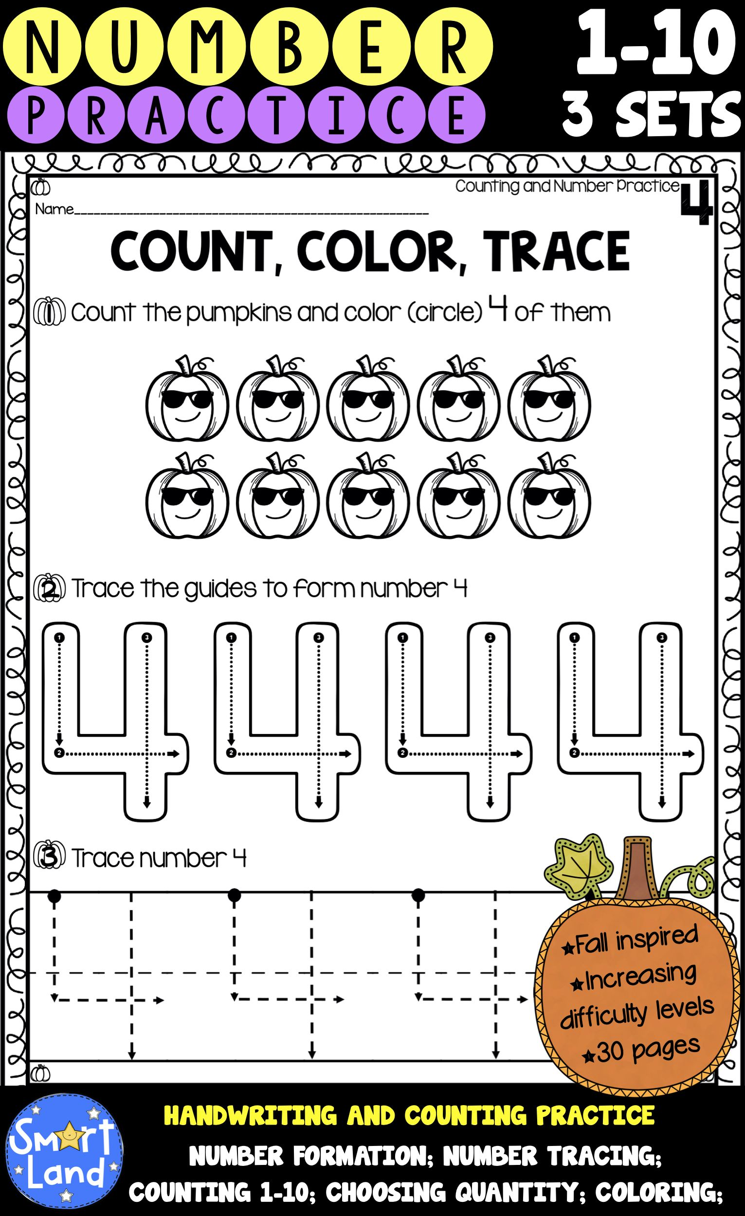 Number Handwriting And Counting Practice 3sets With
