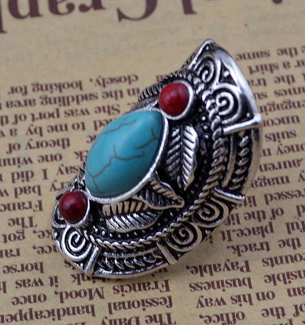 1 unid boho de plata chapado mujeres vintage rojo turquesa escudo talla flor joyería del anillo de dedo retro ajustable conjunta rings anel